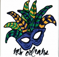 Mardi Gras Mask Ceramic Tile