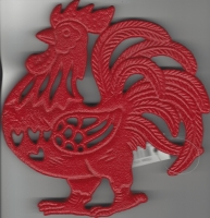 Red Rooster Cast Iron Trivet